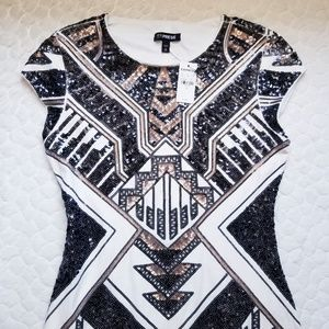 NEW Express sequin dress mini mod Aztec Egyptian